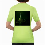 New York Skyline New York City Women s Green T-Shirt Back