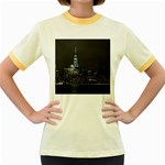 New York Skyline New York City Women s Fitted Ringer T-Shirt Front