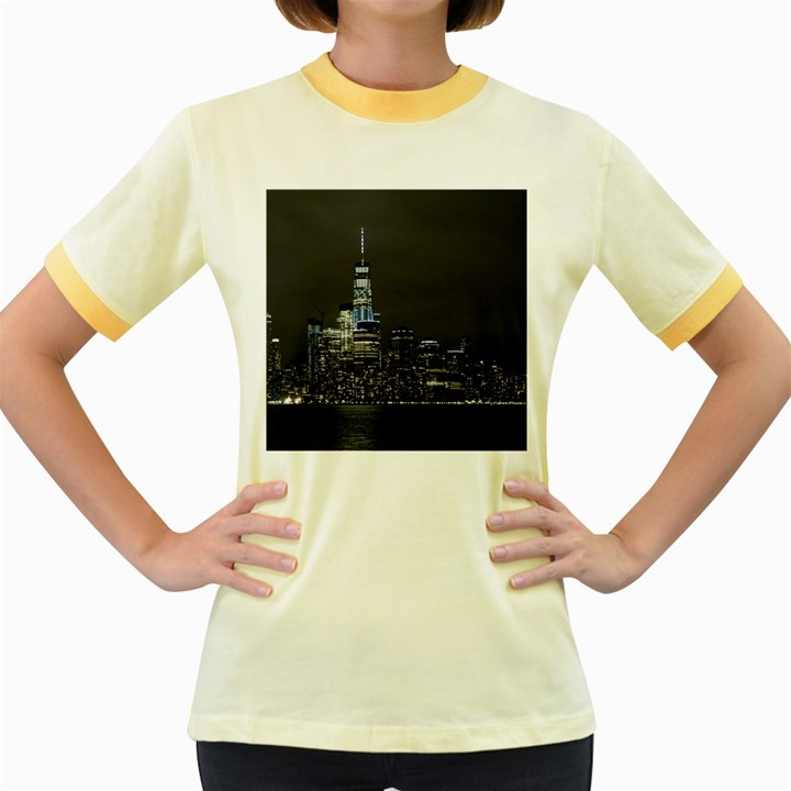 New York Skyline New York City Women s Fitted Ringer T-Shirt