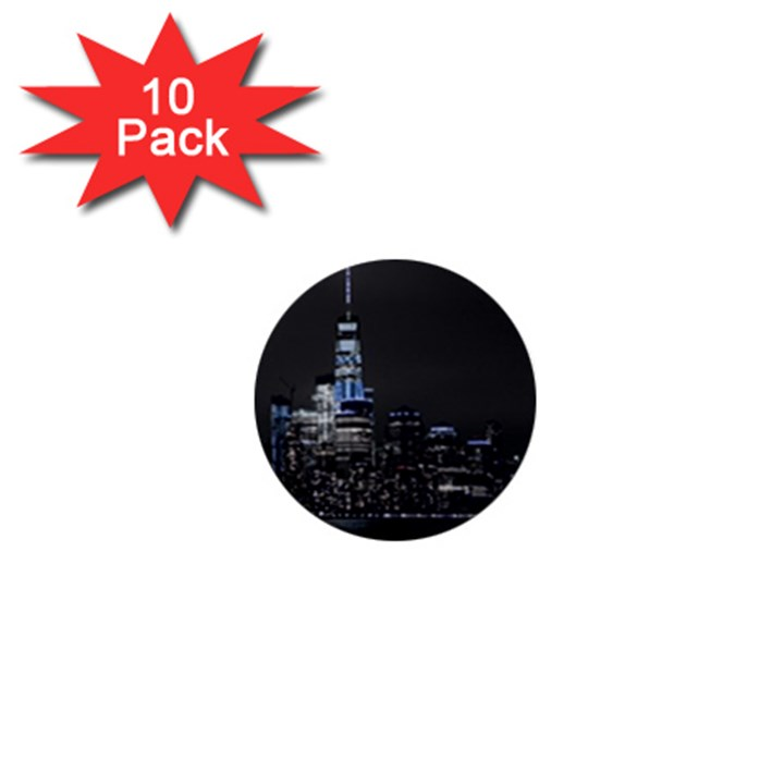 New York Skyline New York City 1  Mini Buttons (10 pack)