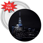 New York Skyline New York City 3  Buttons (100 pack)  Front