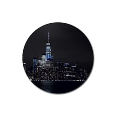 New York Skyline New York City Rubber Round Coaster (4 Pack)  by Nexatart