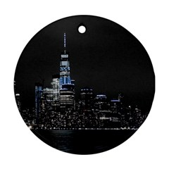 New York Skyline New York City Round Ornament (two Sides) by Nexatart