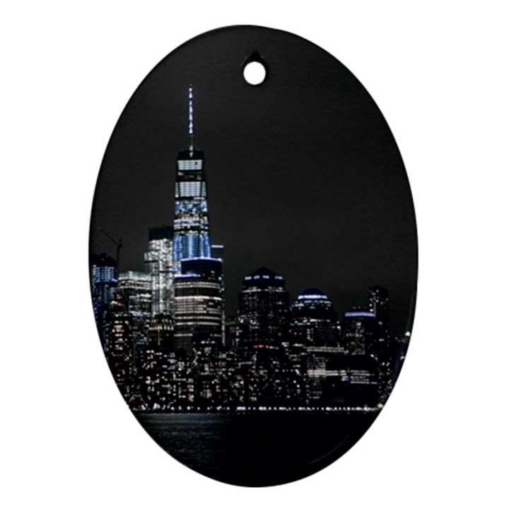 New York Skyline New York City Oval Ornament (Two Sides)