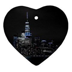 New York Skyline New York City Heart Ornament (two Sides) by Nexatart