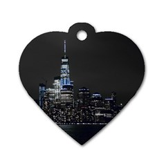 New York Skyline New York City Dog Tag Heart (one Side)