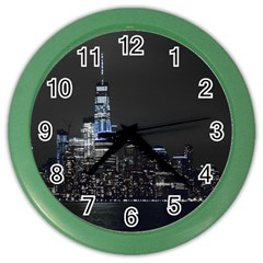 New York Skyline New York City Color Wall Clock by Nexatart