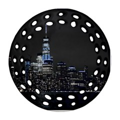 New York Skyline New York City Round Filigree Ornament (two Sides) by Nexatart