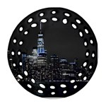 New York Skyline New York City Round Filigree Ornament (Two Sides) Back