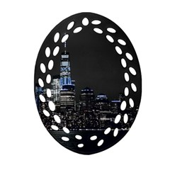 New York Skyline New York City Ornament (oval Filigree) by Nexatart