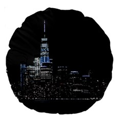 New York Skyline New York City Large 18  Premium Round Cushions