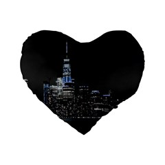 New York Skyline New York City Standard 16  Premium Heart Shape Cushions by Nexatart