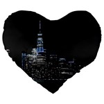 New York Skyline New York City Large 19  Premium Heart Shape Cushions Front
