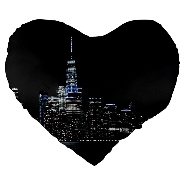 New York Skyline New York City Large 19  Premium Heart Shape Cushions