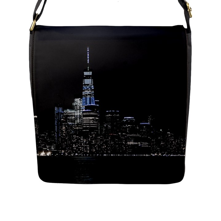 New York Skyline New York City Flap Closure Messenger Bag (L)