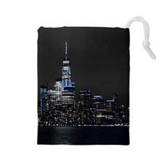New York Skyline New York City Drawstring Pouch (large)