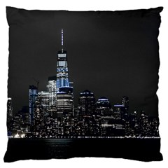 New York Skyline New York City Large Flano Cushion Case (two Sides) by Nexatart