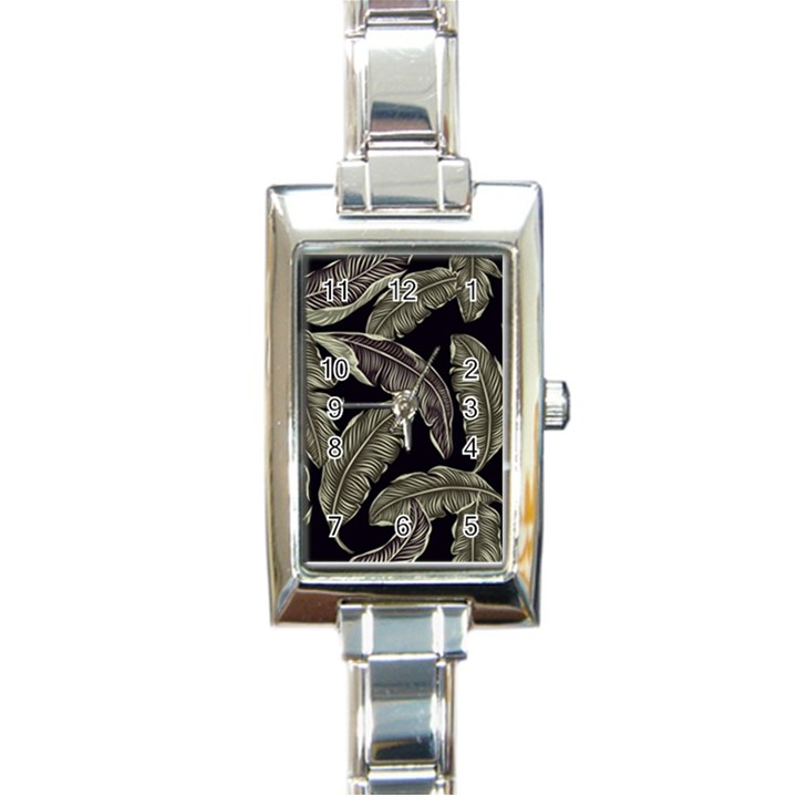 Jungle Leaves Tropical Pattern Rectangle Italian Charm Watch