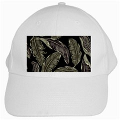Jungle Leaves Tropical Pattern White Cap