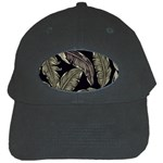 Jungle Leaves Tropical Pattern Black Cap Front