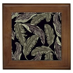 Jungle Leaves Tropical Pattern Framed Tiles by Nexatart