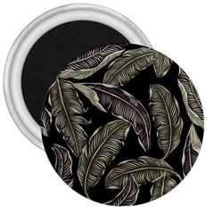 Jungle Leaves Tropical Pattern 3  Magnets by Nexatart