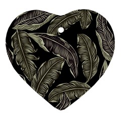 Jungle Leaves Tropical Pattern Ornament (heart)