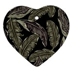 Jungle Leaves Tropical Pattern Ornament (Heart) Front