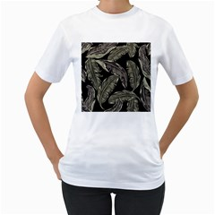 Jungle Leaves Tropical Pattern Women s T Shirt (white) (two Sided) by Nexatart