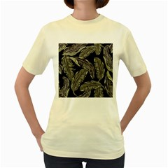 Jungle Leaves Tropical Pattern Women s Yellow T Shirt