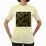 Jungle Leaves Tropical Pattern Women s Yellow T-Shirt Front