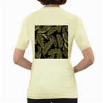 Jungle Leaves Tropical Pattern Women s Yellow T-Shirt Back