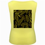 Jungle Leaves Tropical Pattern Women s Yellow Tank Top Back