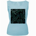 Jungle Leaves Tropical Pattern Women s Baby Blue Tank Top Front
