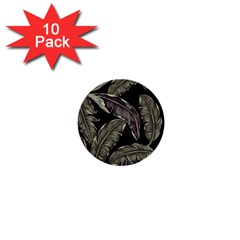 Jungle Leaves Tropical Pattern 1  Mini Buttons (10 Pack)