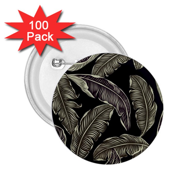 Jungle Leaves Tropical Pattern 2.25  Buttons (100 pack)