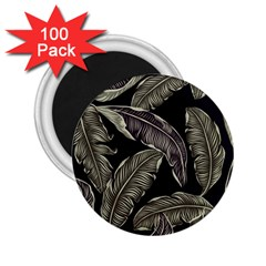 Jungle Leaves Tropical Pattern 2 25  Magnets (100 Pack)