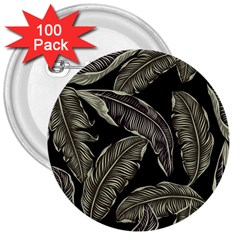Jungle Leaves Tropical Pattern 3  Buttons (100 Pack)  by Nexatart