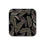 Jungle Leaves Tropical Pattern Rubber Coaster (Square)  Front