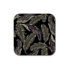 Jungle Leaves Tropical Pattern Rubber Square Coaster (4 Pack)