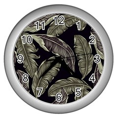 Jungle Leaves Tropical Pattern Wall Clock (silver)