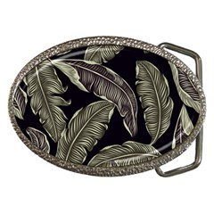 Jungle Leaves Tropical Pattern Belt Buckles by Nexatart