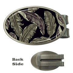 Jungle Leaves Tropical Pattern Money Clips (oval)  by Nexatart