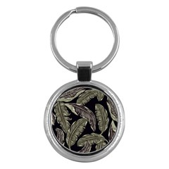 Jungle Leaves Tropical Pattern Key Chains (round)