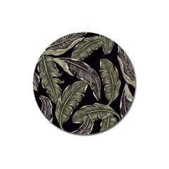 Jungle Leaves Tropical Pattern Magnet 3  (round)