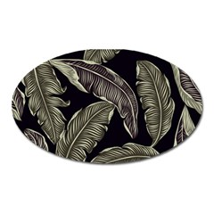 Jungle Leaves Tropical Pattern Oval Magnet