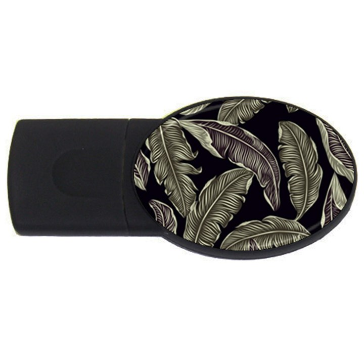 Jungle Leaves Tropical Pattern USB Flash Drive Oval (2 GB)