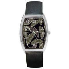Jungle Leaves Tropical Pattern Barrel Style Metal Watch
