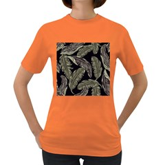 Jungle Leaves Tropical Pattern Women s Dark T Shirt