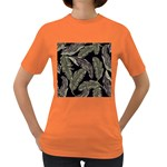 Jungle Leaves Tropical Pattern Women s Dark T-Shirt Front
